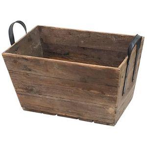 CHEMIN DE CAMPAGNE - grand casier panier caisse en bois 69x40x43 cm - Cesta De Jardinería