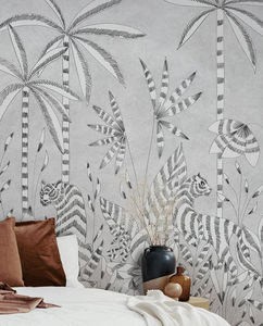 ISIDORE LEROY - paradis des tigres grisaille - Papel Pintado Panorámico