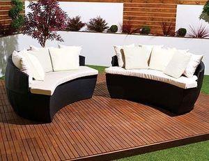 Abode Interiors - rattan garden moon sofa black - Sofá Para Jardín
