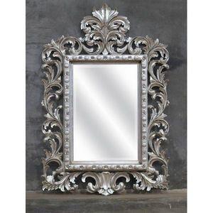 DECO PRIVE - miroir en bois argente modele beauty deco prive - Espejo