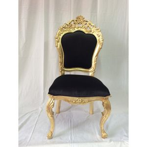 DECO PRIVE - chaise de style italien aspect cuir noir et bois d - Silla
