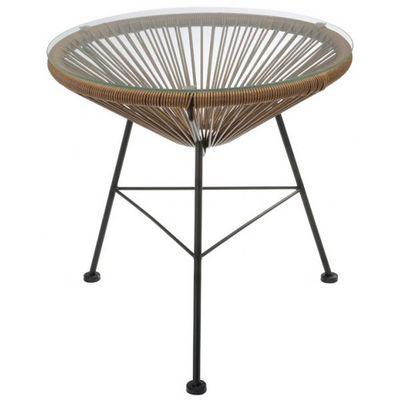 La Chaise Longue - Mesa de sofá-La Chaise Longue-Table rotin et verre Bahia