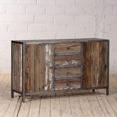 BOIS DESSUS BOIS DESSOUS - Aparador bajo-BOIS DESSUS BOIS DESSOUS-Buffet en bois de pin recyclé et métal 150 VINTAGE