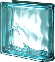 Seves Glassblock - Ladrillos de vidrio de terminación lineal-Seves Glassblock-Pegasus Metallizzato Acquamarina Ter Lineare O Met