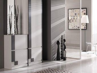 WHITE LABEL - meuble d\'entrée blanc/cendre + armoire + miroir -