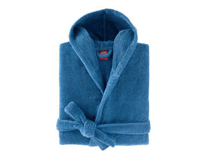 BLANC CERISE - peignoir capuche - coton peigné 450 g/m² bleu - Accappatoio