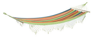 Aubry-Gaspard - hamac rayé multicolore avec franges - Amaca