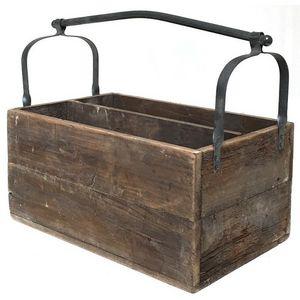CHEMIN DE CAMPAGNE - panier casier caisse en bois avec anse -