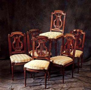 Bertrand Klein - 6 chaises noyer de style - Sedia