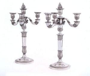 Dario Ghio Antiquites - paire de chandeliers en argent - Candelabro