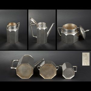 Expertissim - service à thé de forme octogonale en métal argenté - Servizio Da Tè