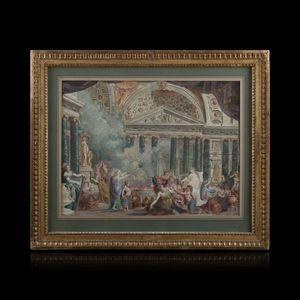 Expertissim - ecole italienne vers 1790. salomon sacrifiant aux - Disegno A Inchiostro