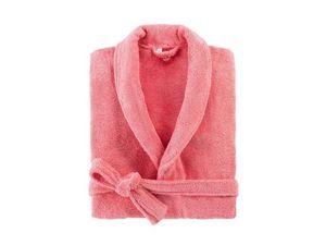 BLANC CERISE - peignoir col châle - coton peigné 450 g/m² corail - Accappatoio