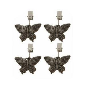 WHITE LABEL - lot de 4 poids serre-nappe décoratifs papillons - Fermatovaglia