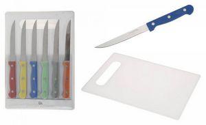 WHITE LABEL - ensemble de 6 couteaux avec planche à découper - Tagliere