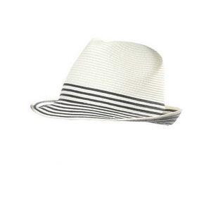 WHITE LABEL - chapeau trilby mixte paille pliable uni avec rayur - Cappello