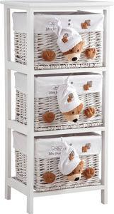 Aubry-Gaspard - commode 3 tiroirs en bois et osier mes jouets ours - Cassettiera Bambino
