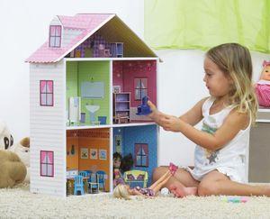 EXKLUSIVES FUR KIDS - maison de poupée mellrose en carton recyclé 57x18, - Casa Delle Bambole