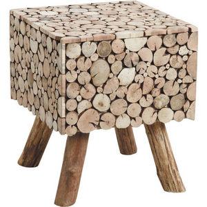 Aubry-Gaspard - table d'appoint carrée rondins en sapin - Tavolino Rettangolare