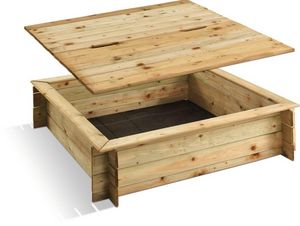 JARDIPOLYS - bac à sable carré en pin avec couvercle 120x120x25 - Sabbiera