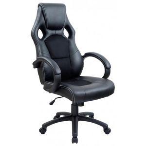 WHITE LABEL - fauteuil de bureau sport cuir noir - Poltrona Direzionale