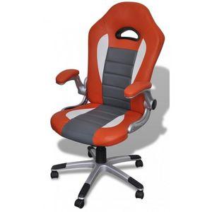 WHITE LABEL - fauteuil de bureau sport cuir orange/gris - Poltrona Ufficio