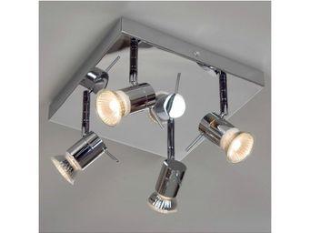 Linea Verdace - spots / plafonnier bath 4 ip44 chromé carré - Faretto Alogeno