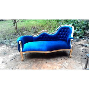 DECO PRIVE - meridienne de style baroque velours bleu - Chaise Longue