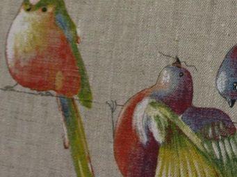 Le Quartier des Tissus - lin happy birds - Tessuto Stampato