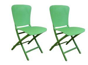 WHITE LABEL - lot de 2 chaises pliante zak design vert - Sedia Pieghevole