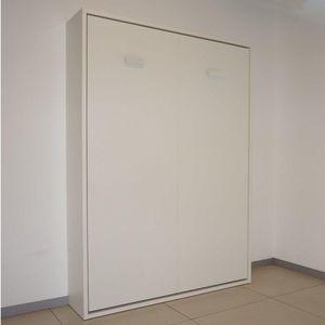 WHITE LABEL - armoire lit escamotable smart blanc mat couchage 1 - Letto A Scomparsa