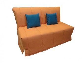 WHITE LABEL - canapé bz convertible flo orange 160*200cm matelas - Divano Letto Con Apertura A Scorrimento