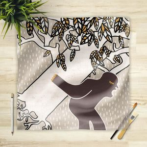 la Magie dans l'Image - foulard ogre arbre fond gris - Foulard Quadrato