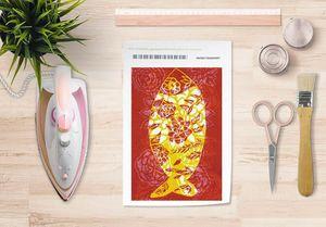 la Magie dans l'Image - papier transfert poisson batik rouge - Trasferibile