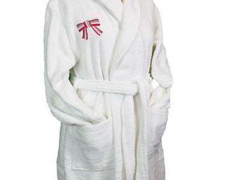 Liou - peignoir de bain blanc so chic rose - Accappatoio