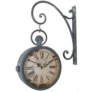CHEMIN DE CAMPAGNE - style ancienne horloge de gare double face murale  - Orologio A Muro