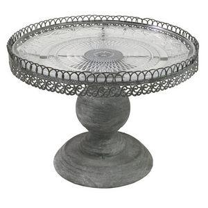 CHEMIN DE CAMPAGNE - plateau serviteur en fer et verre ø23 cm - Vassoio Portadolciumi