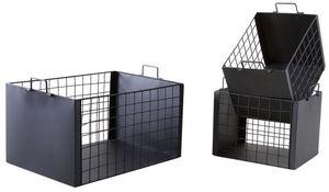 Aubry-Gaspard - caisses de rangement en métal laqué noir mat (lot  - Cassettiera Sistematutto