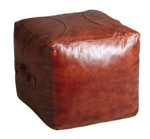 Aubry-Gaspard - pouf carré en cuir marron - Pouf