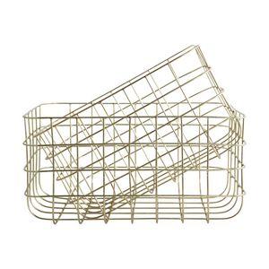 BOIS DESSUS BOIS DESSOUS - set de panier en métal doré effet grillage - Cestino Contenitore