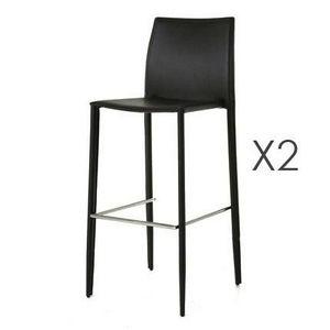 MAISON ET STYLES - lot de 2 chaises de bar en pu noir - bora bora - Sgabello (sedia Alta)