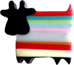 L'AGAPE - bouton de tiroir vache rayures - Pomello Mobile Bambino