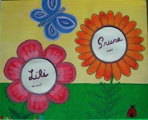 La p'tite Manue - les fleurs - Quadro Decorativo Bambino