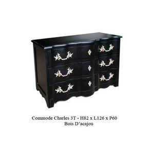 DECO PRIVE - commode en bois noir modele charles - Cassettiera