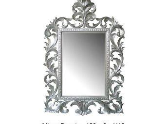 DECO PRIVE - miroir en bois argenté modèle beauty - Specchio