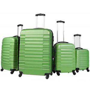 WHITE LABEL - lot de 4 valises bagage abs vert - Trolley / Valigia Con Ruote