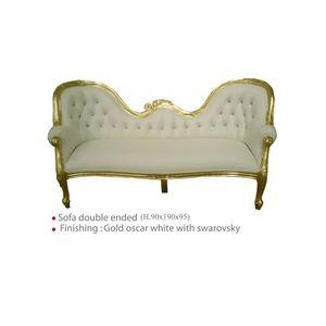DECO PRIVE - canapé de style baroque en bois doré et simili bla - Divano 3 Posti