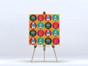 la Magie dans l'Image - toile heros pattern orange - Stampa Digitale Su Tela