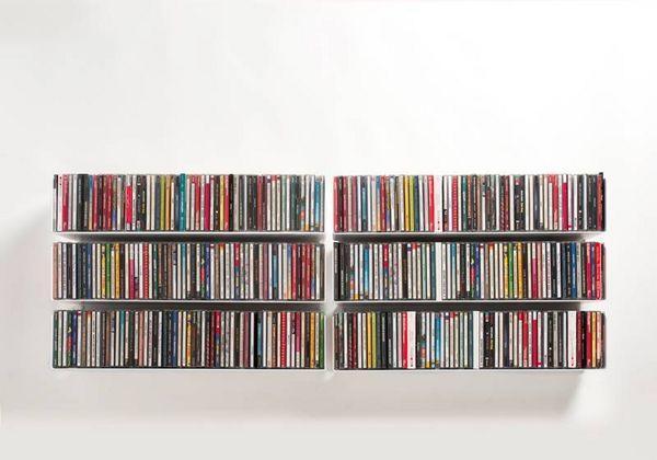 Lot de 6 mobile porta cd dvd bianco acciaio l 120 cm p