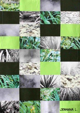 JOHANNA L COLLAGES - Quadro decorativo-JOHANNA L COLLAGES-Grey and greens 50x70 cm